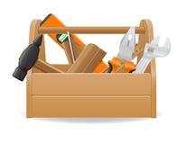 Illustration en bois de vecteur de boîte à outils Photos stock
