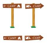 Illustration en bois de vecteur de signe de camping Images libres de droits