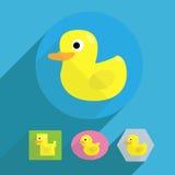 Illustration en caoutchouc de canard de forme plate de bande dessinée Illustration de Vecteur