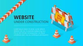 Illustration en construction de vecteur de fond de page de site Web Illustration isométrique plate de vecteur de style illustration libre de droits