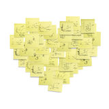 Illustration en forme de coeur de concept de symbole de post-it. Image stock