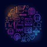 Illustration en ligne colorée de circulaire d'éducation illustration stock