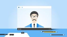 Illustration en ligne d'éducation avec l'entraîneur abstrait On Video Player de web browser et d'affaires Concept plat de vecteur Photo libre de droits