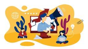 Illustration en ligne de concept de RP Gestion et stratégie marketing illustration de vecteur