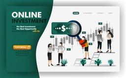 Illustration en ligne de vecteur d'investissement et d'opérations bancaires les hommes avec les loupes géantes te donneront des c illustration de vecteur