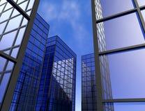 Illustration en verre bleue du gratte-ciel 3D d'immeuble de bureaux de vue de fenêtre Photographie stock