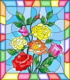 Illustration en verre souillé avec des fleurs, des bourgeons et des feuilles des roses sur un fond bleu illustration stock