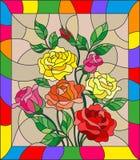 Illustration en verre souillé avec des fleurs, des bourgeons et des feuilles des roses sur un fond brun illustration de vecteur