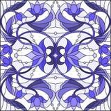 Illustration en verre souillé avec des remous abstraits, des fleurs et des feuilles sur un fond clair, bleu gamma Photo libre de droits