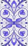 Illustration en verre souillé avec des remous abstraits, des fleurs et des feuilles sur un fond clair, bleu gamma d'orientation v Photos libres de droits