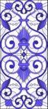 Illustration en verre souillé avec des remous abstraits, des fleurs et des feuilles sur un fond clair, bleu gamma d'orientation v Image stock