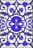 Illustration en verre souillé avec des remous abstraits, des fleurs et des feuilles sur un fond clair, bleu gamma d'orientation v Photos stock