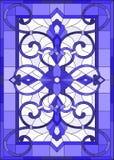 Illustration en verre souillé avec des remous abstraits, des fleurs et des feuilles sur un fond clair, bleu gamma d'orientation v Photo stock