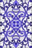 Illustration en verre souillé avec des remous abstraits, des fleurs et des feuilles sur un fond clair, bleu gamma d'orientation v Image libre de droits