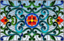 Illustration en verre souillé avec des remous abstraits, des fleurs et des feuilles sur un fond clair, orientation horizontale illustration de vecteur
