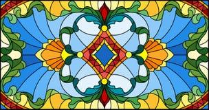 Illustration en verre souillé avec des remous abstraits, des fleurs et des feuilles, orientation horizontale illustration libre de droits