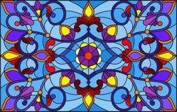 Illustration en verre souillé avec des remous abstraits, des fleurs et des feuilles sur un fond bleu, orientation horizontale illustration de vecteur