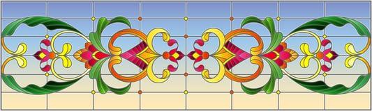 Illustration en verre souillé avec des remous abstraits, des fleurs et des feuilles sur un fond de ciel, orientation horizontale illustration libre de droits