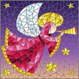 Illustration en verre souillé avec l'ange abstrait dans la robe longue rose avec un tuyau dans des mains sur un fond de ciel et d illustration stock