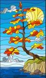 Illustration en verre souillé avec l'arbre d'automne sur la rive sur le fond de ciel avec les nuages et le soleil illustration libre de droits