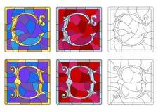 Illustration en verre souillé avec l'ensemble de lettres de l'alphabet latin, du ` du ` C de lettres et du ` du ` D illustration stock