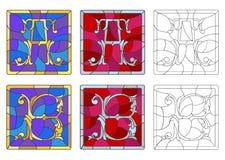 Illustration en verre souillé avec l'ensemble de lettres de l'alphabet latin, du ` du ` A de lettres et du ` du ` B illustration de vecteur
