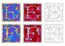 Illustration en verre souillé avec l'ensemble de lettres de l'alphabet latin, du ` du ` E de lettres et du ` du ` F illustration de vecteur
