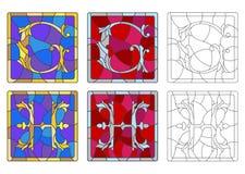 Illustration en verre souillé avec l'ensemble de lettres de l'alphabet latin, du ` du ` G de lettres et du ` du ` H illustration de vecteur