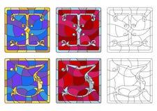 Illustration en verre souillé avec l'ensemble de lettres de l'alphabet latin, du ` du ` I de lettres et du ` du ` J illustration stock