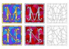 Illustration en verre souillé avec l'ensemble de lettres de l'alphabet latin, du ` du ` M de lettres et du ` du ` N illustration stock