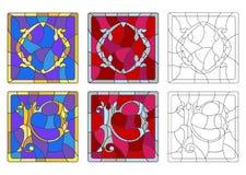 Illustration en verre souillé avec l'ensemble de lettres de l'alphabet latin, du ` du ` O de lettres et du ` du ` P illustration libre de droits
