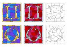 Illustration en verre souillé avec l'ensemble de lettres de l'alphabet latin, du ` du ` U de lettres et du ` du ` V illustration de vecteur