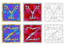 Illustration en verre souillé avec l'ensemble de lettres de l'alphabet latin, du ` du ` Y de lettres et du ` du ` Z illustration libre de droits
