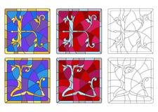 Illustration en verre souillé avec l'ensemble de lettres de l'alphabet latin, du ` et du ` L ` du ` K de lettres illustration libre de droits