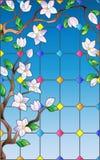 Illustration en verre souillé avec la branche de Sakura, fenêtres en verre teinté d'imitation Image libre de droits