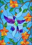 Illustration en verre souillé avec le colibri coloré sur le fond du ciel, de la verdure et des fleurs Image libre de droits