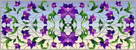 Illustration en verre souillé avec les fleurs pourpres abstraites sur un fond de ciel, orientation horizontale illustration libre de droits