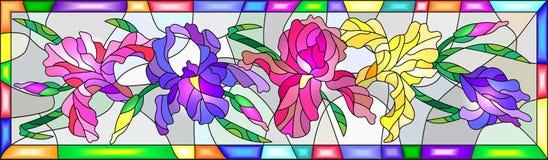 Illustration en verre souillé avec les iris colorés dans un cadre lumineux Image stock