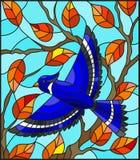 Illustration en verre souillé avec un bel oiseau bleu sur un fond de branche d'automne d'arbre et de ciel Photographie stock