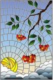 Illustration en verre souillé avec une branche de cendre de montagne, des groupes de baies et des feuilles contre le ciel avec le illustration libre de droits