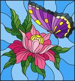 Illustration en verre souillé avec une fleur rose et un papillon pourpre lumineux sur un fond bleu Images stock