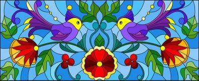 Illustration en verre souillé avec une paire d'oiseaux, de fleurs et de modèles pourpres abstraits sur un fond bleu, image horizo illustration stock