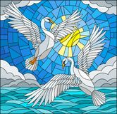 Illustration en verre souillé avec une paire de cygnes sur le fond du ciel, de l'eau et des nuages de jour illustration libre de droits