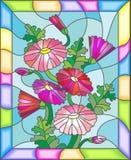 Illustration en verre souillé des marguerites roses abstraites dans un cadre lumineux Photo libre de droits