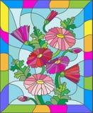 Illustration en verre souillé des marguerites roses abstraites dans un cadre lumineux Photographie stock