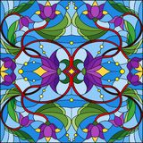 Illustration en verre souillée avec des remous abstraits, des fleurs pourpres et des feuilles sur un fond bleu illustration de vecteur