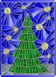 Illustration en verre souillé avec l'image d'un arbre de Noël contre le ciel étoilé Photographie stock libre de droits