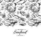 Illustration encadrée par vecteur tiré par la main de fruits de mer Crabe, homard, crevette, huître, moule, caviar et calmar Image stock