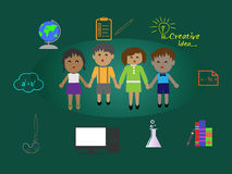 Illustration of Encouraging kids Education, Support Education Stock Photo
