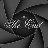 The End Screen. Illustration of The End screen on aperature shutter backdrop Stock Image